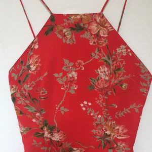 TOPSHOP Red Floral Asian Inspired Strappy Dress